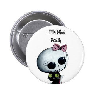 Little Miss Death with Black Cat Pinback Button