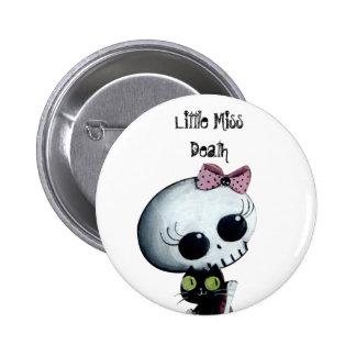 Little Miss Death with Black Cat 6 Cm Round Badge