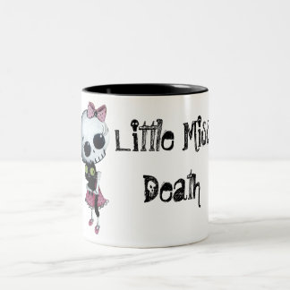 Little Miss Death with Black Cat Two-Tone Coffee Mug