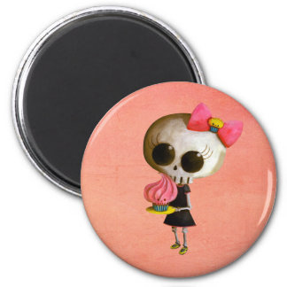 Little Miss Death with Cupcake 6 Cm Round Magnet