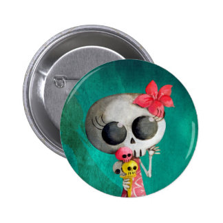 Little Miss Death with Halloween Ice Cream Pinback Buttons