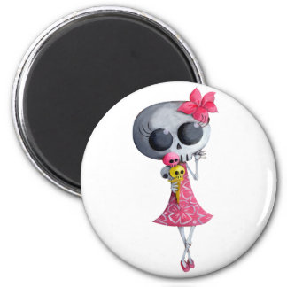 Little Miss Death with Halloween Ice Cream Refrigerator Magnets