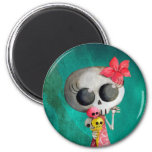 Little Miss Death with Halloween Ice Cream Magnets