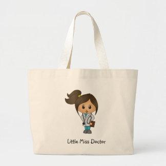 Little Miss Doctor - Cute Brunette Large Tote Bag