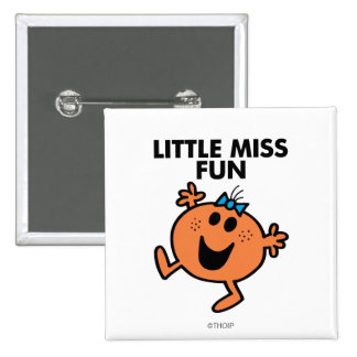 Little Miss Fun Waving Joyously 2 Inch Square Button