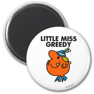Little Miss Greedy Licking Her Lips 2 Inch Round Magnet
