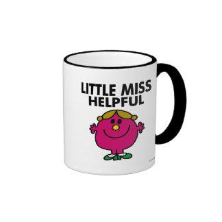 Little Miss Helpful   Black Lettering Ringer Mug