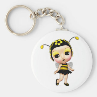 Little Miss Lady Bumblebee Keyring Basic Round Button Key Ring