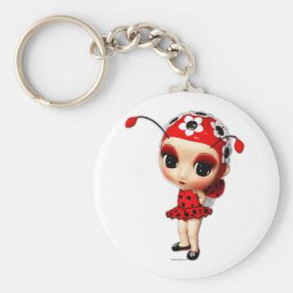 Little Miss Ladybug Basic Round Button Key Ring