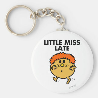 Little Miss Late | Black Lettering Basic Round Button Key Ring