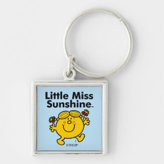 Little Miss | Little Miss Sunshine is a Ray of Sun Silver-Colored Square Key Ring