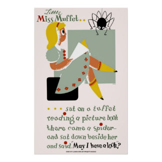 Little Miss Muffet. 1940 poster promoting reading