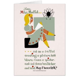 Little Miss Muffet. 1940 reading promotion poster Card