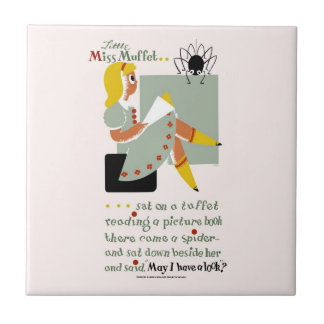Little Miss Muffet. 1940 reading promotion poster Small Square Tile