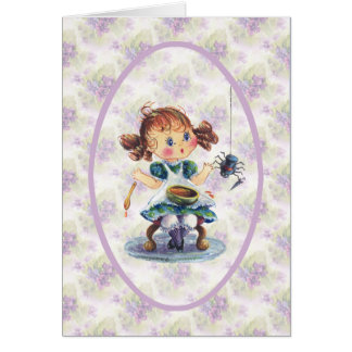 LITTLE MISS MUFFET by SHARON SHARPE Greeting Card