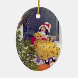 Little Miss Muffet Nursery Rhyme Ceramic Oval Decoration