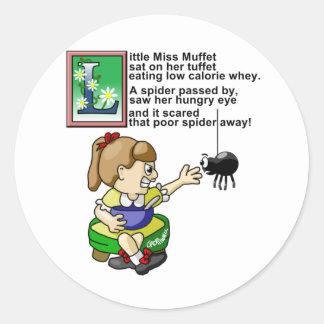 Little Miss Muffet Round Sticker