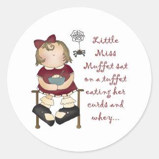 Little Miss Muffet Round Stickers