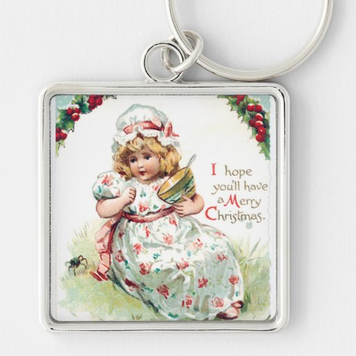 Little Miss Muffet Vintage Christmas Card Key Chain