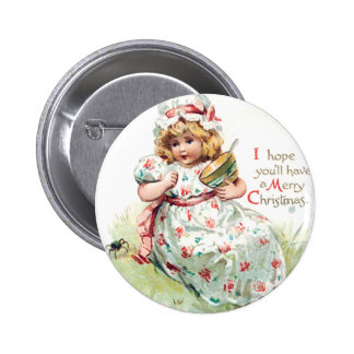 Little Miss Muffet Vintage Christmas Card Pin