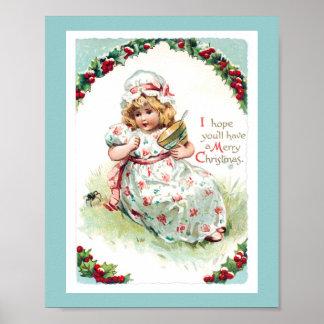 Little Miss Muffet Vintage Christmas Card Poster