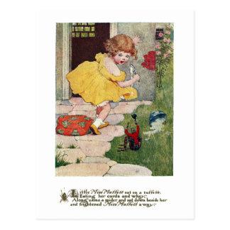 Little Miss Muffett & Spider Vintage Nursery Rhyme Postcard