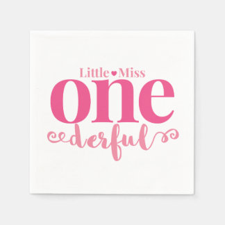 Little Miss Onederful Party Napkins Paper Napkin
