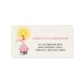 Little Miss Pink Cupcake Girl 1st Birthday Party Label