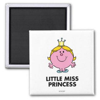 Little Miss Princess | Crown Background Square Magnet