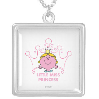 Little Miss Princess | Pink Five Pointed Crown Square Pendant Necklace