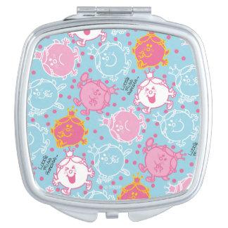 Little Miss Princess | Pretty Pink & Blue Pattern Compact Mirrors