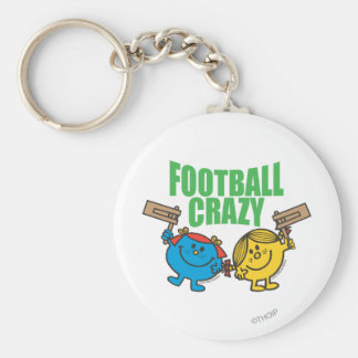 Little Miss Sunshine & Giggles Football Crazy Basic Round Button Key Ring