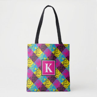 Little Miss Sunshine | Neon Pattern | Monogram Tote Bag