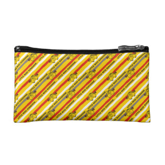Little Miss Sunshine | Red, Yellow Stripes Pattern Cosmetic Bags