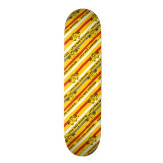 Little Miss Sunshine | Red, Yellow Stripes Pattern Skateboard Deck