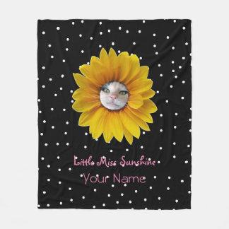 Little Miss Sunshine Smiling Cat Fleece Blanket