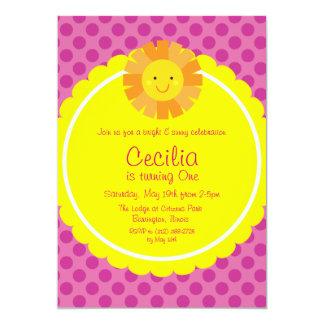 Little Miss Sunshine Sun Invitation Polka Dot