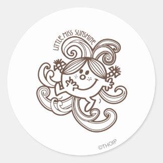 Little Miss Sunshine Swirls Monochrome Round Stickers