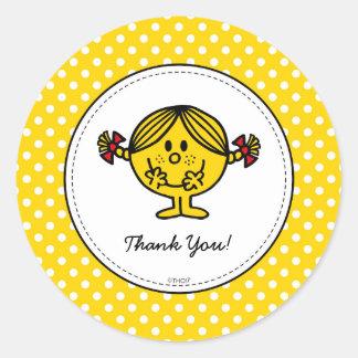 Little Miss Sunshine | Yellow Birthday Thank You Classic Round Sticker