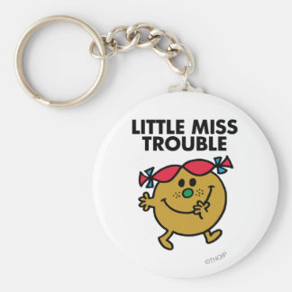 Little Miss Trouble | Black Lettering Basic Round Button Key Ring