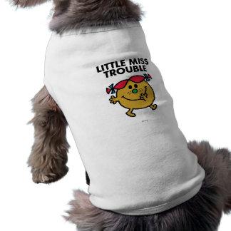 Little Miss Trouble   Black Lettering Sleeveless Dog Shirt