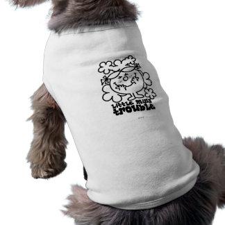Little Miss Trouble   Black & White Sleeveless Dog Shirt