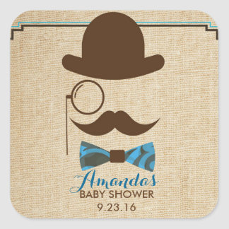 Little Mister Moustache Baby shower favor stickers