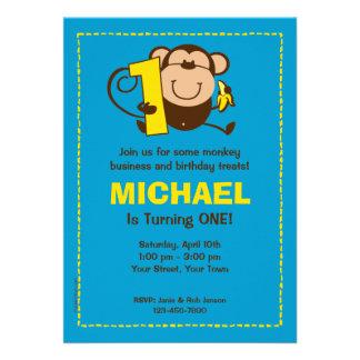 Little Monkey 1st Birthday Boy Custom Invitations