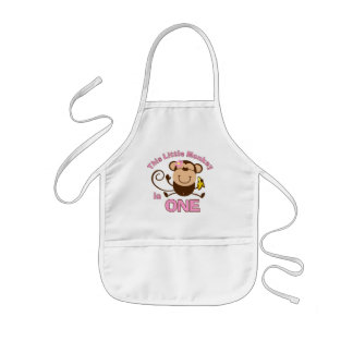 Little Monkey 1st Birthday Girl Kids Apron