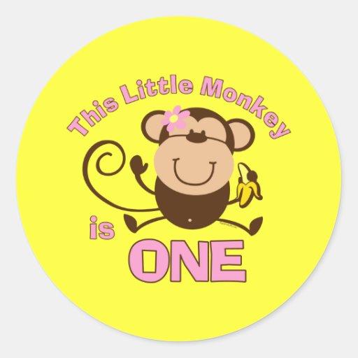 Little Monkey 1st Birthday Girl Sticker