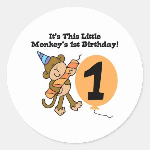 Little Monkey 1st Birthday Round Sticker