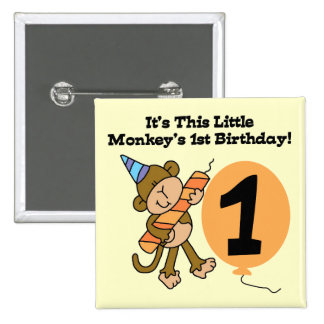Little Monkey 1st Birthday Tshirts and Gifts 15 Cm Square Badge