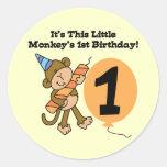 Little Monkey 1st Birthday Tshirts and Gifts Round Sticker