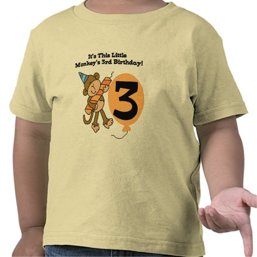 Little Monkey 3rd Birthday Tshirts and Gifts